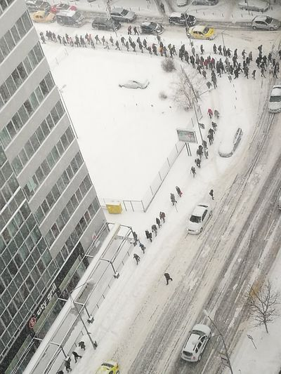 City Outdoors Aerial View Cityscape People Winter