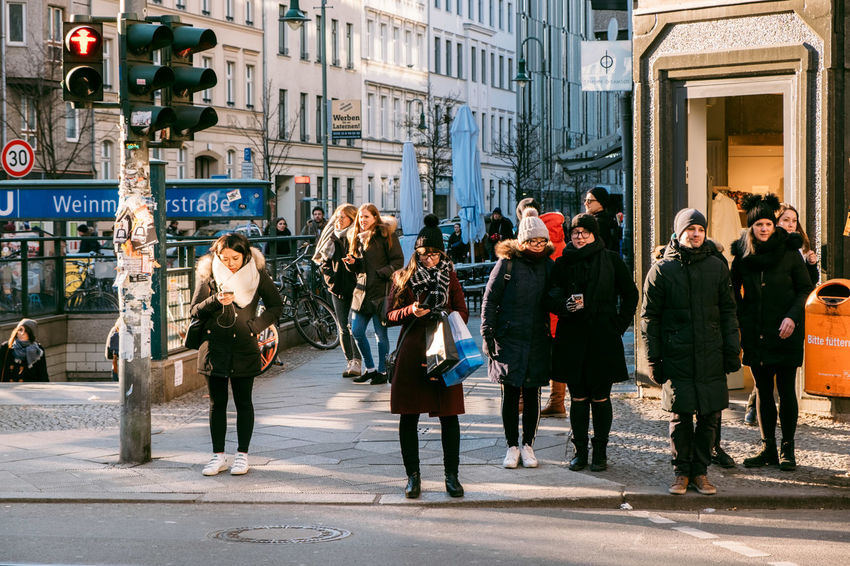 Adult Architecture Building Exterior Built Structure Casual Clothing City City Life City Street Day Group Of People Leisure Activity Lifestyles Men People Real People Road Street Ubahn Walking Weinmeisterstraße Women Young Adult