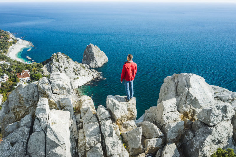 Rear view of man standing on rock by sea
