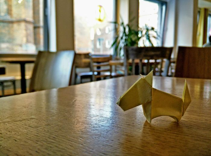 Close-up Day Dog Hanging Out Imbiss Indoors  Lounge No People Origami Origami Dog Restaurant Table Wood - Material