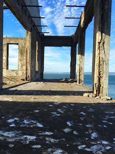 Alcatraz again Sky Sunlight Sea Architecture Beach Window Cloud - Sky Day Water No People Sand Built Structure Nature Outdoors Decay Alcatraz Alcatraz Island San Francisco Let's Go. Together. EyeEmNewHere