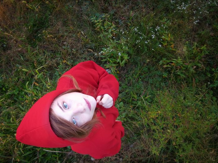 High Angle View Of Woman On Grass