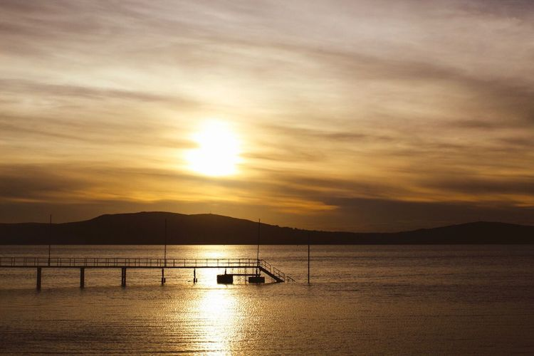 Holywood, Co Down, Seapark, Belfast Lough, Northern Ireland Sunset Water Beauty In Nature Nature Sky Tranquility Scenics Silhouette Reflection Tranquil Scene Sea Idyllic No People Outdoors Sun Cloud - Sky Mountain Day