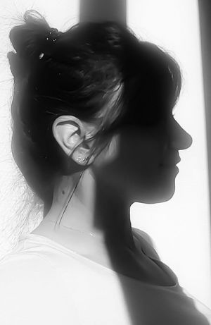 Blackandwhite Black And White Black And White Photography Shadow Stripes Woman Portrait Woman Profile One Person Lights And Shadows Hair Up Shadows On The Wall Shadows And Silhouettes Light Effect Catching The Sun Woman Of EyeEm EyeEm Best Shots - Black + White EyeEm Woman EyeEm Bnw Eyeem Market Eyeemphoto EyeEm Gallery EyeEm