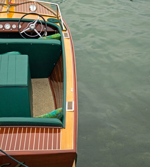 High Angle View Of Vintage Boat Moored In Lake