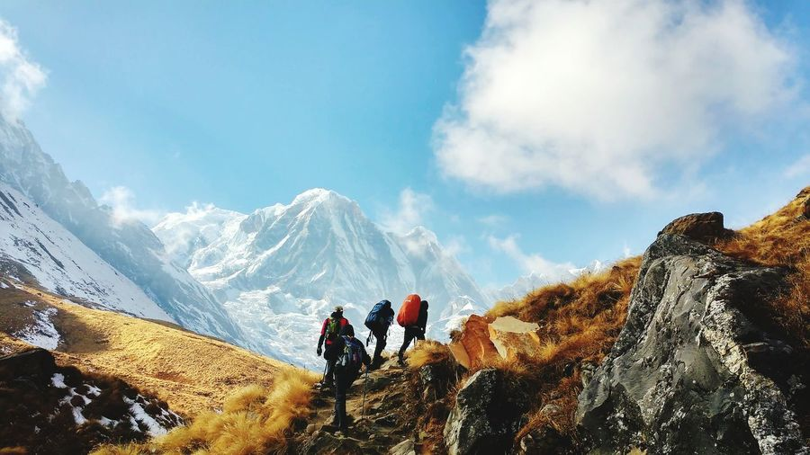 four men on the mountain in Himalaya Climbing Mountain Annapurna Extreme Sports Mountain Men Sport Adventure Togetherness Motion RISK Sports Track Headwear My Best Photo