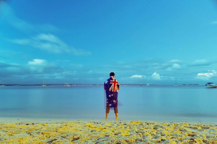 🇦🇺 Australia Day Flag Beautiful Blue Sky Blue Shoal Bay Australiaday Portstephens Beach Australia Eye4photography  EyeEm Best Shots
