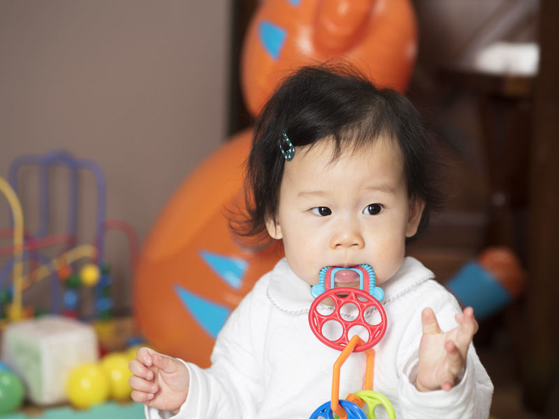 teething baby girl Babyhood Black Hair Childhood Close-up Cute Day Focus On Foreground Front View Holding Indoors  Innocence Lifestyles Looking At Camera One Person People Portrait Real People Teething Waist Up