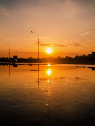 Sunset Sky Reflection Water Silhouette Scenics - Nature Orange Color Cloud - Sky Street Tranquil Scene Nature Lake Street Light Tranquility No People Idyllic Waterfront Beauty In Nature Outdoors