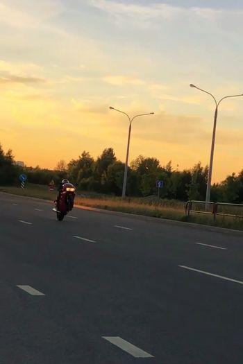 Mottorad Tree Sport Sunset Full Length Road Sky