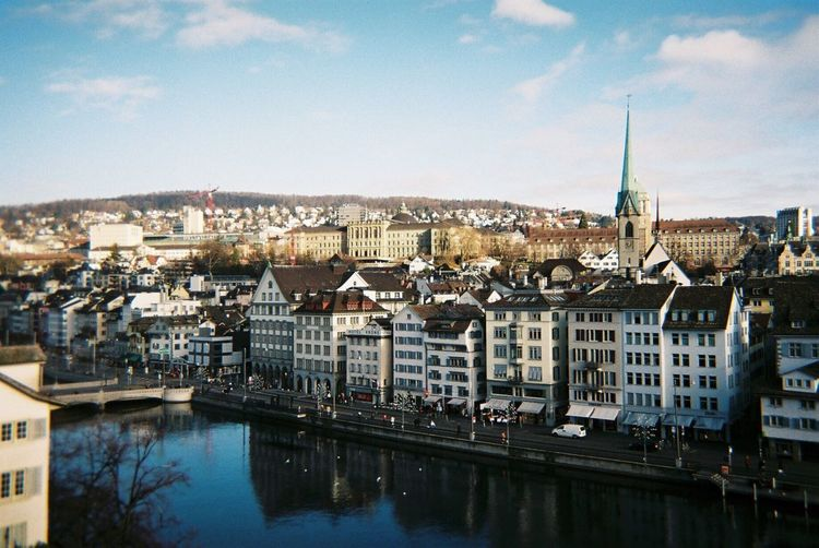 Switzerland Zürich City Cityscape Outdoors Sky Day Rear View River Riverscape Landscape Photography Beautiful Film Filmcamera Filmphotography