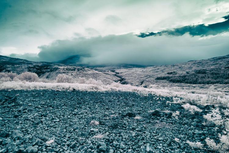 Scenic view arid landscape against sky