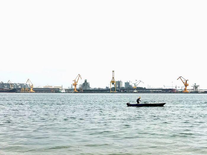 Sea Day Sailing Water EyeEm Selects EyeEm EyeEmNewHere Fishing Fisherman Crane Port Boat Johor Punggol Point Jetty Johor Port