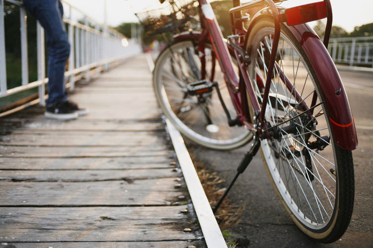 Low section of bicycle on footpath