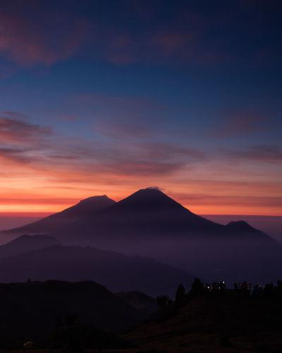 Purple Sunrise at Prau Mountain Beauty In Nature Cloud - Sky Dieng Mountain Mountain Peak Nature No People Orange Color Outdoors Prau Praumountain Silhouette Sky