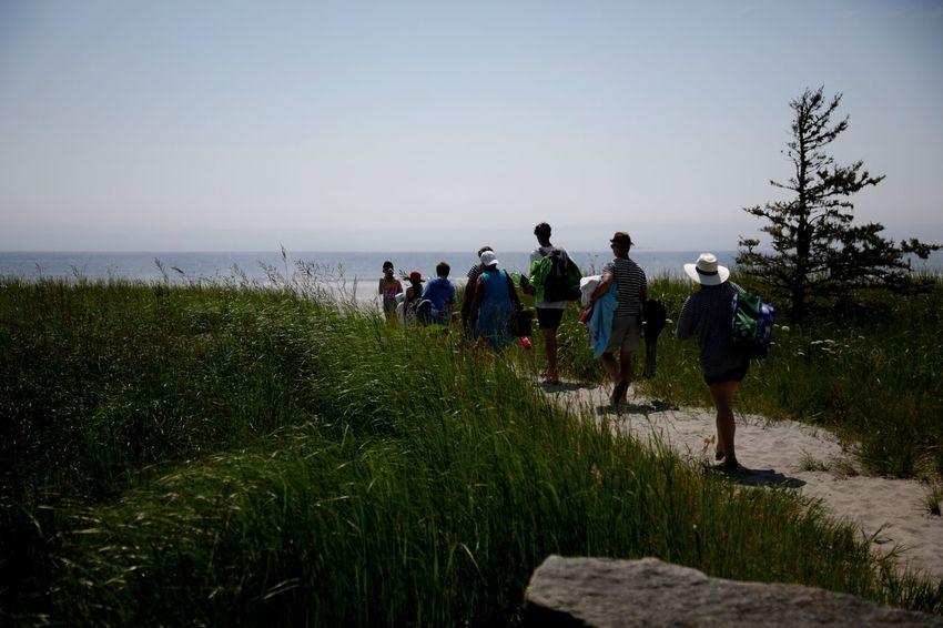 Roseway Beach, Nova Scotia - beachgoers Beach Family Sun