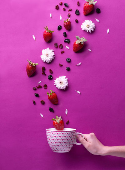 Colors Fun Happiness Strubbery Tea Berrys Colorful Flower Food Food And Drink Food Photography Food Photos Fresh Freshness Fruits Human Hand Multi Colored Pink Color Purple Purple Background Studio Photography Studio Shot Sweet Food Tea Cup Tea Time