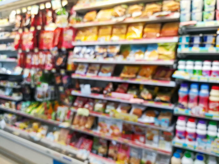 Bokeh Blurred Motion Blurred Defocused Retail Store Retail Display Retail  Shop Product Shelf Stock Store Department Store Group Consumer Convinient Fast Food Customer  Seller Business Impression Display Show Design Decor