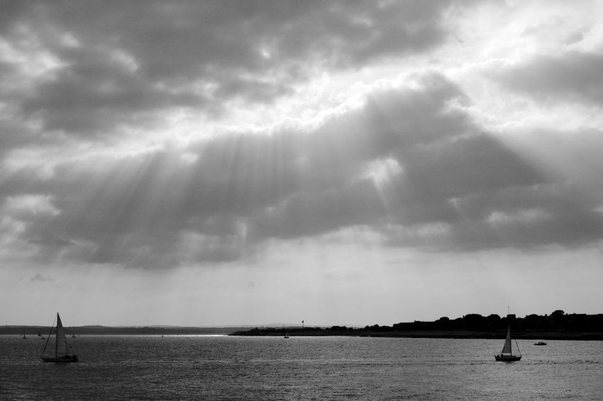 Under Ray Beauty In Nature Black And White Blackandwhite Cloud - Sky Mode Of Transportation Nature Nautical Vessel Outdoors Sailboat Scenics - Nature Sea Sky Tranquil Scene Tranquility Transportation Water Waterfront