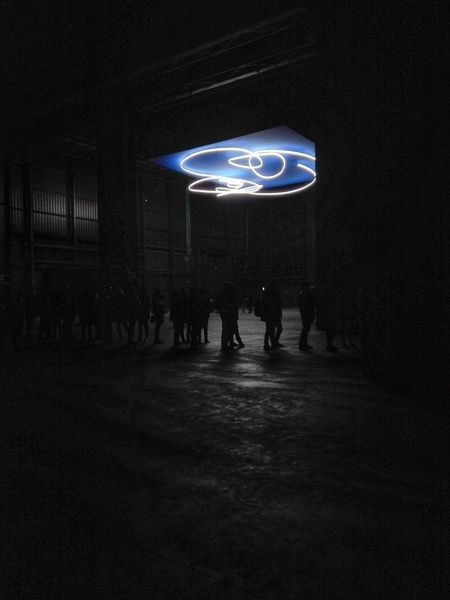 Lucio Fontana Spiral Illuminated People Light Blue Darkness And Light Neon Light Monochrome Hangarbicocca