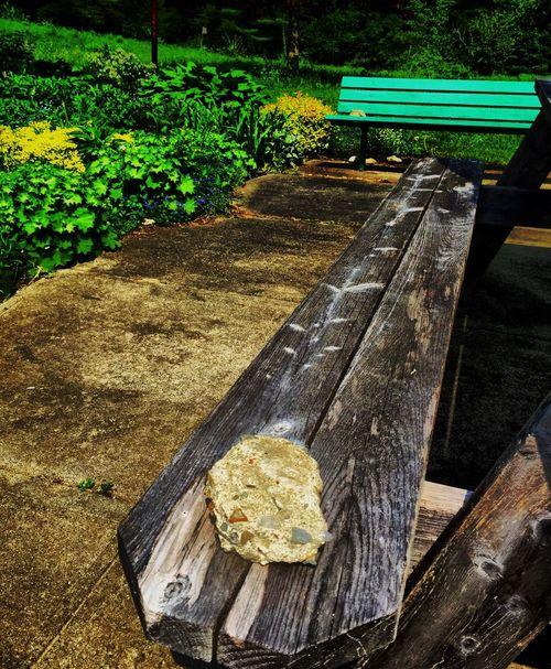 Just Playing Around Rock on Bench Just For Fun