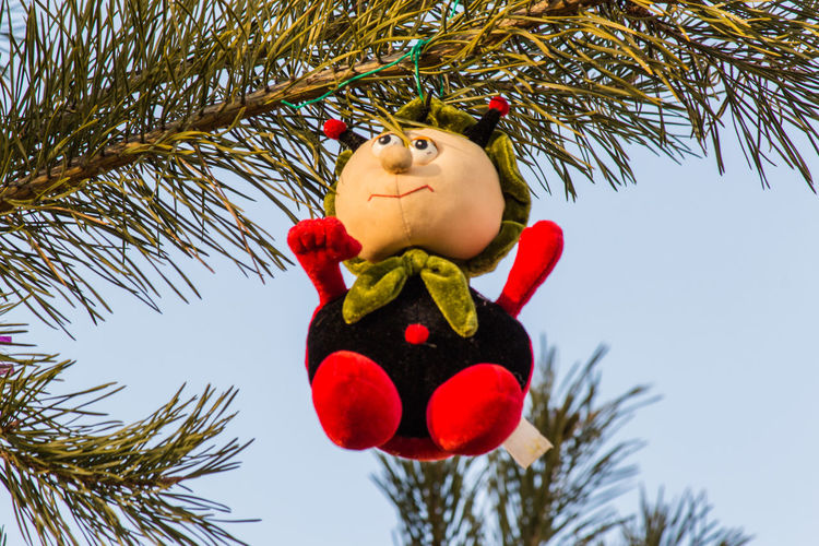 Low angle view of toy hanging on christmas tree
