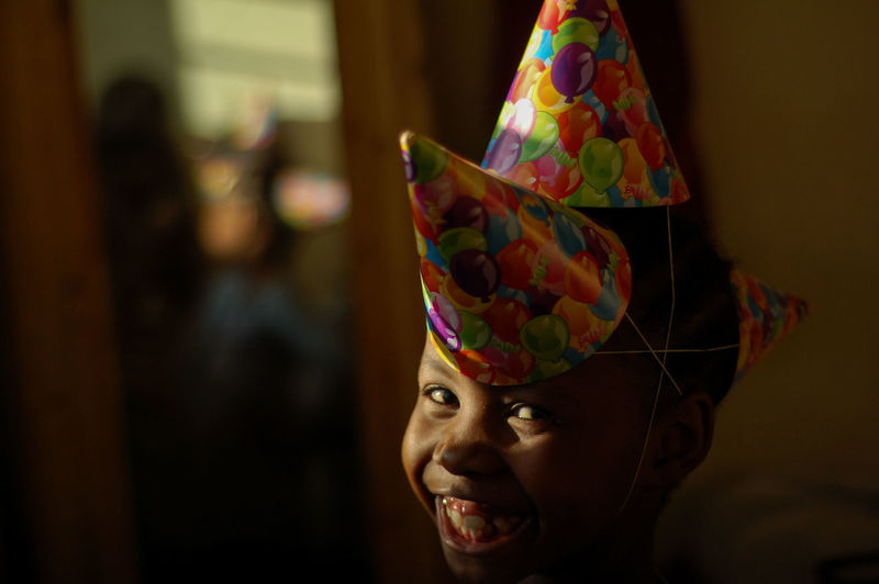 my little girl enjoying her birthday Celebration Close-up Clown Cultures Day Female Likeness Focus On Foreground Indoors  Multi Colored One Person People Real People