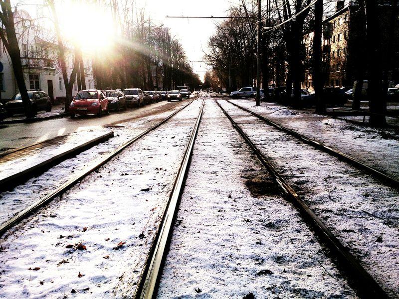 Winter Snow Sun Railway