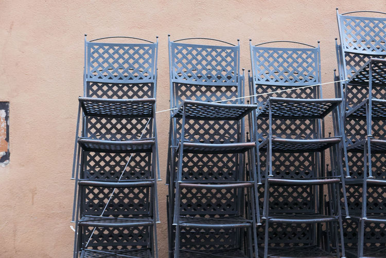 Stacks of metal chairs