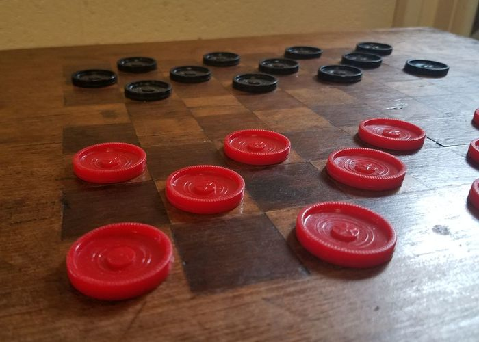 Checkers Anyone? Red Indoors  High Angle View Table Food And Drink No People Wood - Material Close-up Day