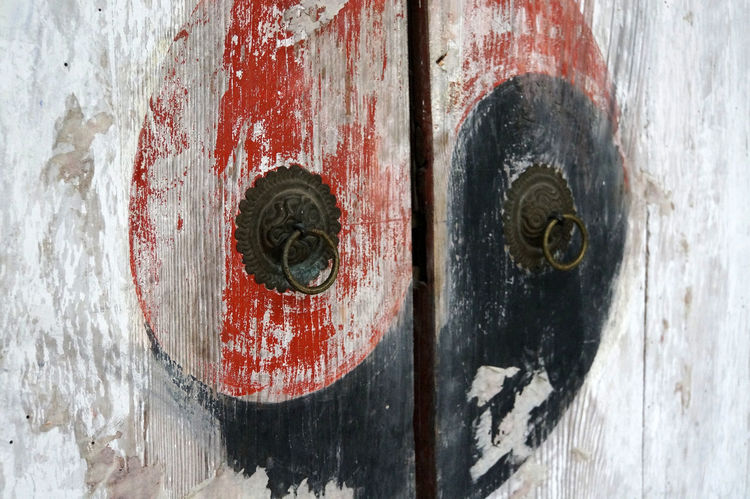 Sacred Mountain Ying Yang China Close-up Daoism Daoist Symbol Daoist Temple Day Door Hinge Metal No People Outdoors Rusty Textured  Weathered Weibao Shan Wood - Material Yinyang Yin & Yang