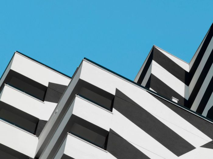 Urban Geometry Urban Landscape Clear Sky Architecture Sky Built Structure Low Angle View Building Exterior No People Day Blue Nature Building Sunlight Copy Space Pattern Outdoors Window City Striped Modern The Architect - 2018 EyeEm Awards The Still Life Photographer - 2018 EyeEm Awards The Creative - 2018 EyeEm Awards #urbanana: The Urban Playground 17.62°