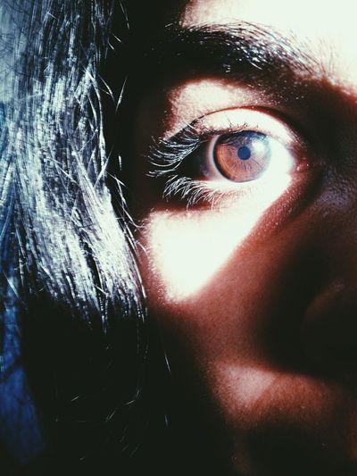 Creepy or Lit Human Face Humaneye Creepy Face DOPE Brown Eyes Half Face Halfeyehair Hairstyle Hair Sunlight And Shadow Suneyed Sunrays Lighting