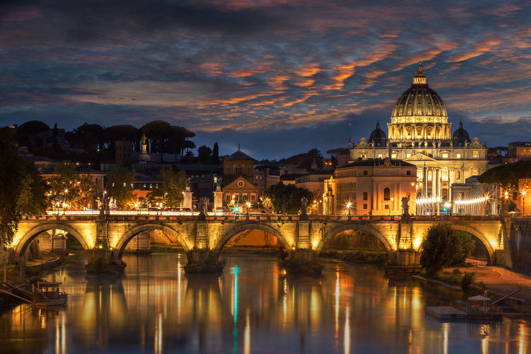 St Peters Basilica at night Night Lights Nightphotography Rome Rome, Italy Vatican Angels Bridge Arch Bridge Architecture Bridge Bridge - Man Made Structure Building Building Exterior Built Structure City Cloud - Sky Connection Dome Dusk Government Illuminated Nature Night No People Outdoors Reflection Sky St Peters Basilica The Past Travel Travel Destination Travel Destinations Water My Best Travel Photo