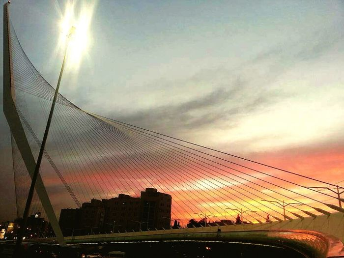 Sunset Architecture Sky Dusk Connection Travel Destinations Illuminated Built Structure Bridge - Man Made Structure No People Urban Skyline Outdoors Modern City Cityscape Jerusalem Chordsbridge Israel The Week On EyeEm Breathing Space