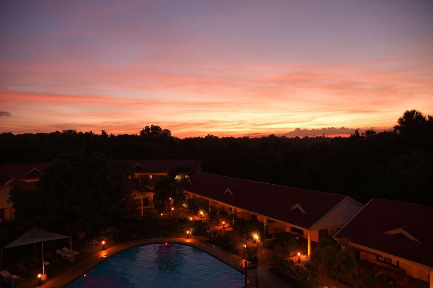 Architecture Illuminated Lifeinpanglao Nature Night No People Outdoors Sky Sunset Swimming Pool Water