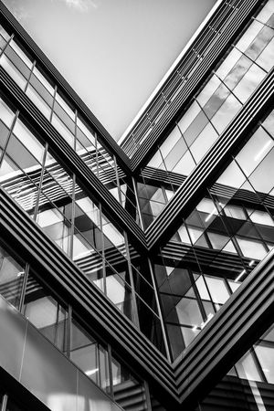 Monochrome Black And White Geometric Shapes Contrast Urban Geometry Angular Building From My Point Of View EyeEm Best Shots EyeEm Masterclass Reflections Massy Symmetry Symmetrical Abstract Pivotal Ideas Architectural Features Clear Sky TakeoverContrast Welcome To Black