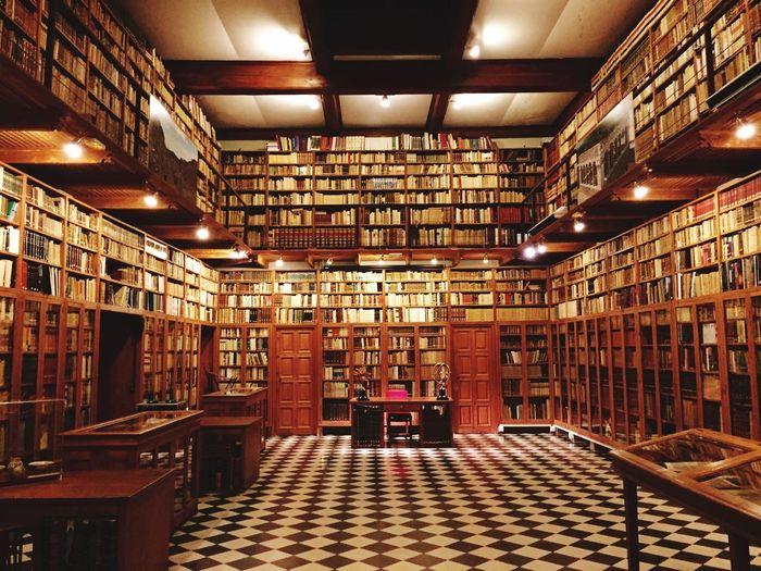Interior Of Illuminated Empty Library
