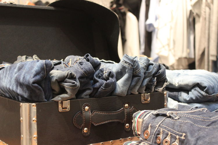 Jeans in suitcase