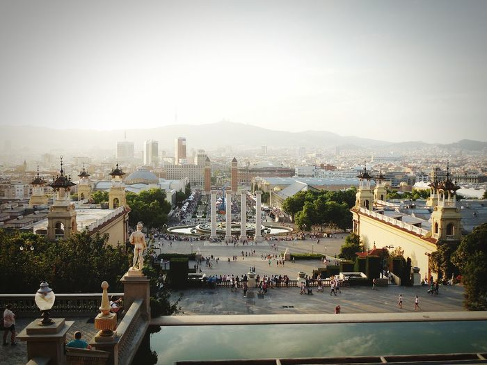 Streetphotography Architecture Barcelona SPAIN Travel Sqaure Jurney World Statue Bilding Mountain Sky Feel The Journey