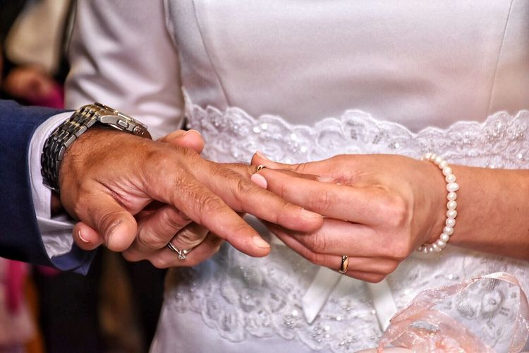 Midsection Of Hands With Wedding Rings