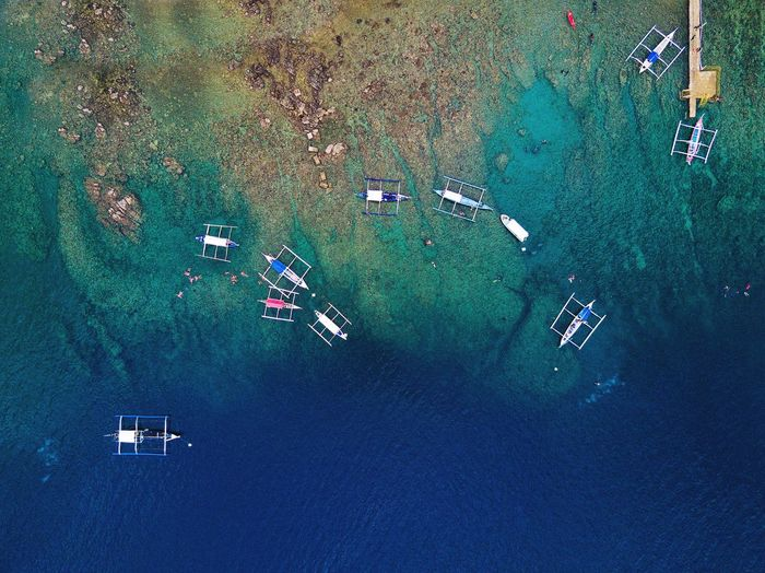 Batangas,philippines Dronephotography Birds Eye View Beach Island Travel Blue Boats Aerial View
