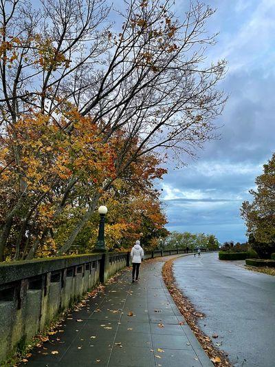 Man walking on footpath by road against sky