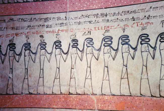 Wall paintings in the Tomb of the Pharoh Tutmoses III - Valley of the Kings, Thebes, Luxor, Egypt Architecture Graffiti Day Outdoors Text Communication Close-up No People Tomb Paintings, Egyptian Matchstick Men Tomb Of Tutmoses III Alien-like Wall Paintings Red Border