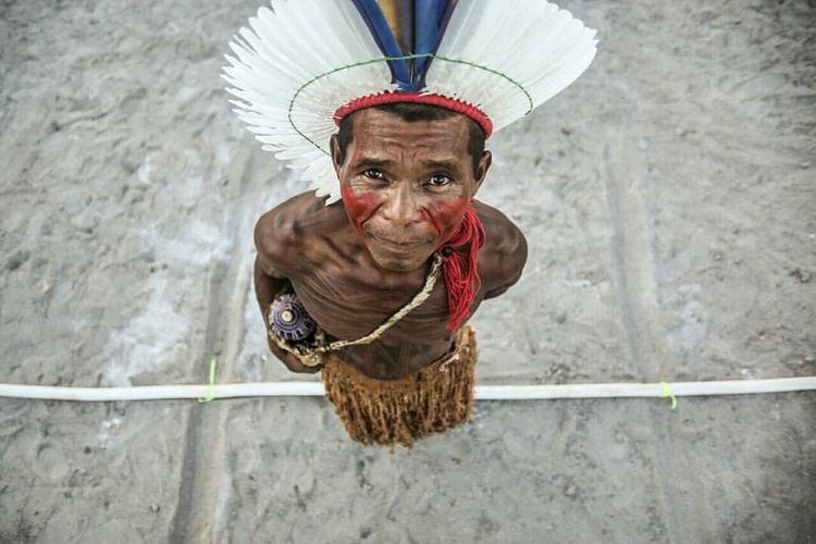 Indigenous Patacho participates in National Tournament of Games the indians in state of Rio de Janeiro, on Maricá city. Portrait Outdoors Real People