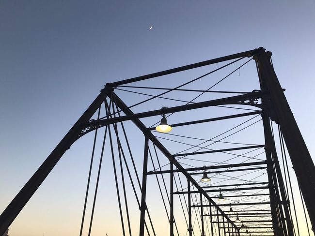 Clear Sky Sunset Lights Architecture Structure Metal Texas San Antonio Satx Bridge Moon Low Angle View Sky No People Outdoors Clear Sky Night
