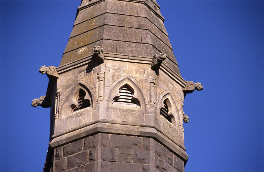 Details of the, Presbyterian Church, Wickliffe Architecture Belfry Building Exterior Built Structure Church Gargoyle History Low Angle View Masonery Place Of Worship Presbyterian Church Stone Tower Victoria Wickliffe