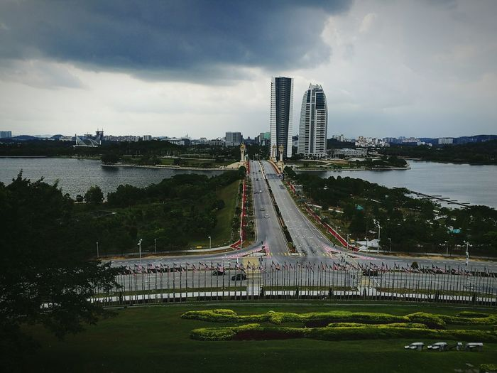 View of river against cloudy sky