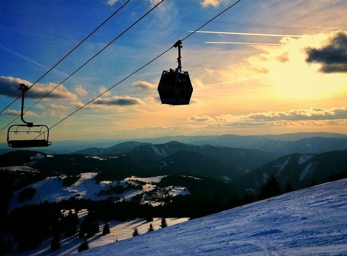Slovakia Donovaly Winter Mountains Chairlift Ropeway Sun Sunset Sundown Snowboarding Skiing EyeEmNewHere