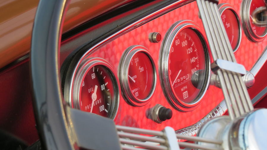 Red Land Vehicle Transportation Mode Of Transportation Close-up Accidents And Disasters Fire Engine Car Day No People Motor Vehicle Steering Wheel Control Panel Reflection Vintage Car Control Metal Travel Glass - Material Truck Wheel